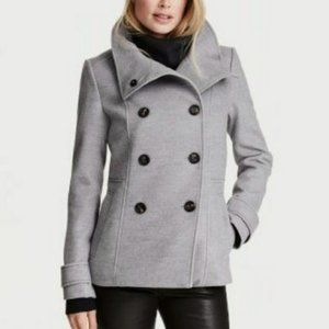 H&M Double-Breasted Gray Peacoat Jacket